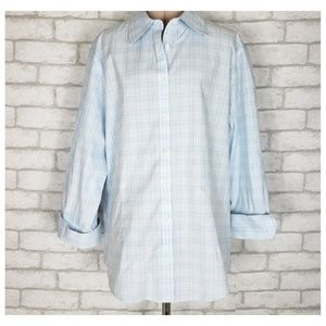 Brooks Brothers Pintuck Plaid 3/4 Sleeve Shirt